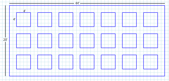 Graph paper sketch of a basic square foot garden layout